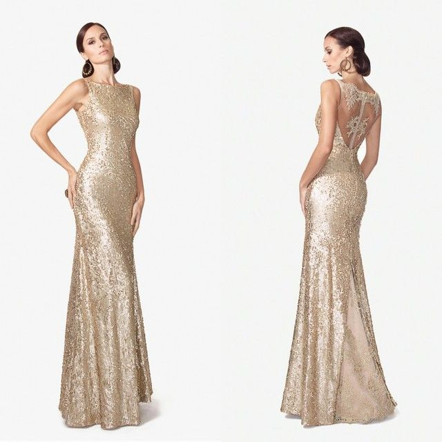 Customer Made Mermaid Appliques Gold Evening Dresses 2017 Floor Length Party Dresses Long Sparking Sequins Evening Gowns