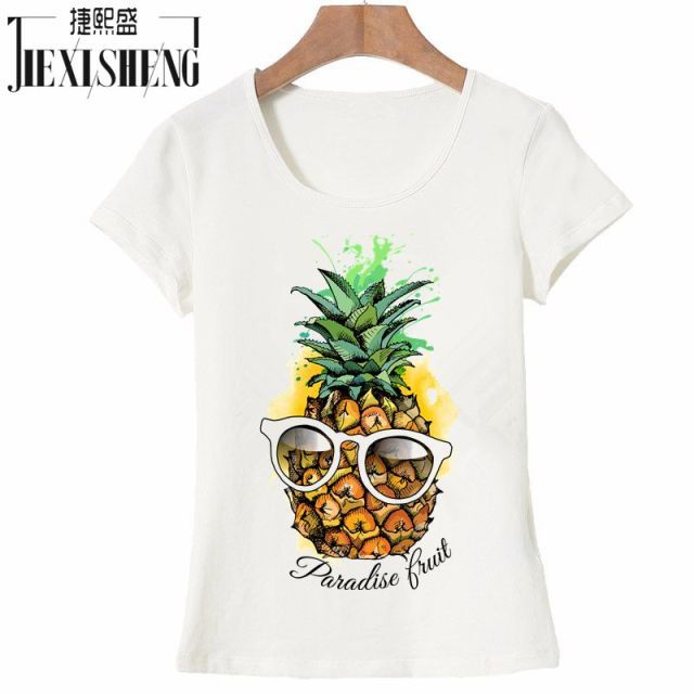 2017 Hot Sale Fashion fruit pineapple Design Women's Creative Printed T-shirt Short Sleeve women Funny Tops Hipster Casual Tee