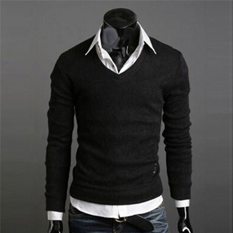 Fashion Mens Sweaters Solid Knitted Jumpers Slim Tops Casual Pullover V Neck 449