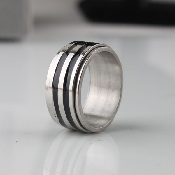 free shipping Wide 9mm Double layer Stripe Rotation rings 316L Stainless Steel men finger ring  wholesale lots
