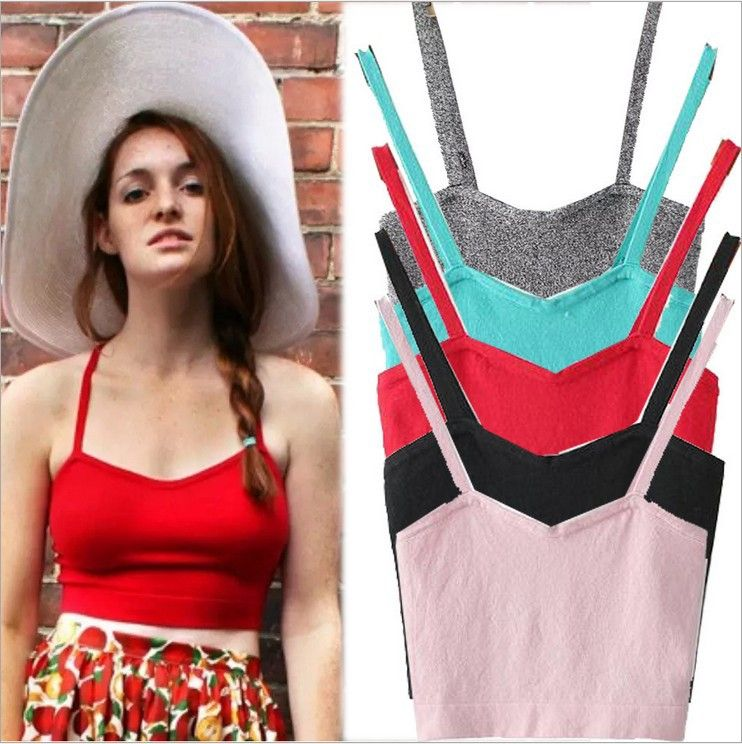 Candy Colors Knitted Crop Top Fitness Summer Style Spaghetti Strap Short Vest Slim Colorful Women Cropped Tops Strappy Bralette