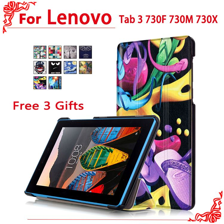 "Case For Lenovo Tab 3 730F 730M 730X 7""tablet case for Lenovo TB3-730F TB3-730M Tab3 730 Case Cover+free 3 gifts"