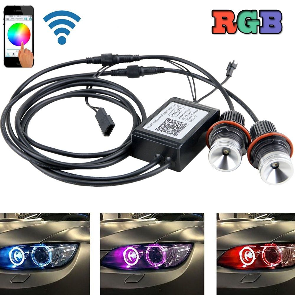 20W E60 LED Error Free Angel Eyes Halo Light wifi control For BMW E87 E39 E60 E65 E53 X5 E83 X3 RGB color change 12V led ring