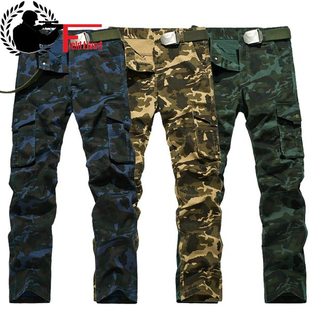 Men's Pants Overalls Camouflage Fashion Military Style Clothing Cargo Pants Tooling Multi-pocket Work Trouser Tactical Slim Male