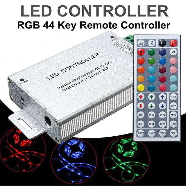 LED RGB Controller For RGB SMD 5050 3528 Strip Lights With 44 Keys IR Remote Controller DC12V-24V 24A 288W