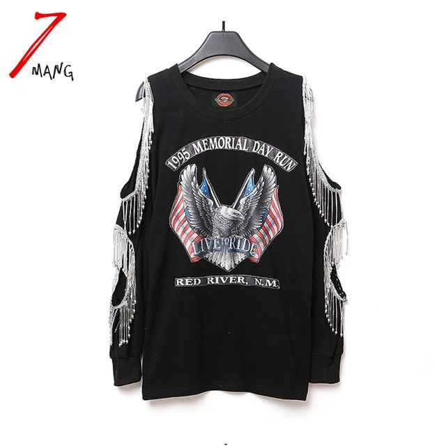 2016 spring women fashion punk animal eagle print  t shirt tassel long off shoulder sleeve tees