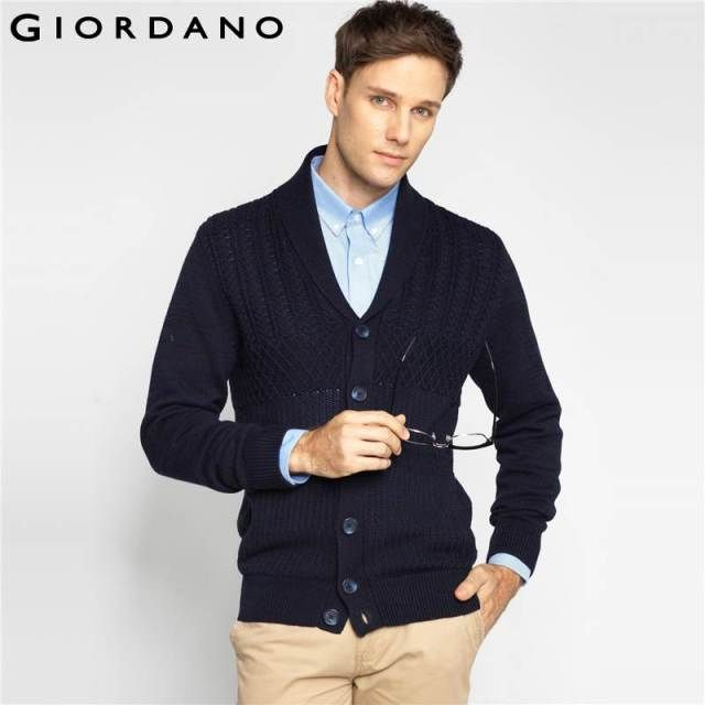 Giordano Men Sweaters Shawlneck Long Sleeves Rib Knitted Clothing Soft Cotton Knitwear Casual Fashion Vetement Homme Brand