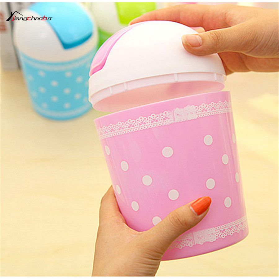 Small Trash Can Fresh Lace Dot Desktop Storage Mini Fashion Bucket Garbage Car Room Study Easy Trash Global Mini Dustbin