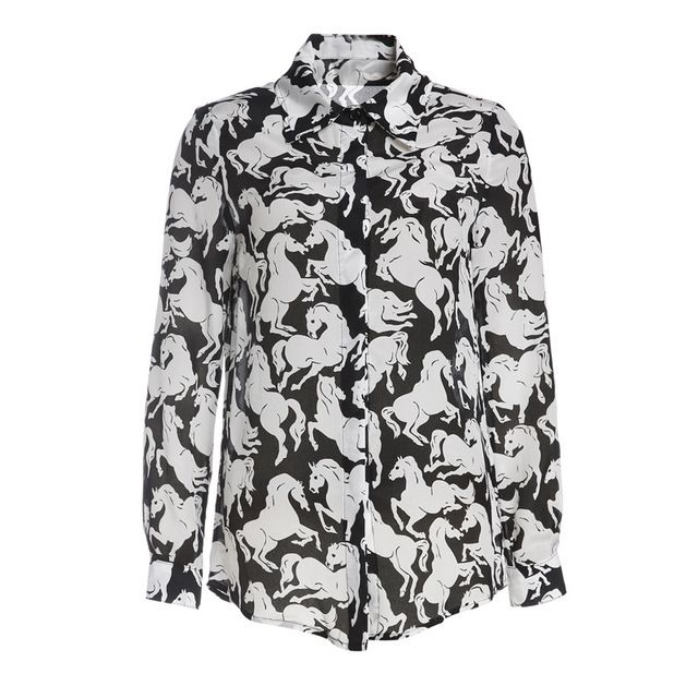 women's 100% silk pattern shirt blouse spring autumn fashion high quality colorfull print horse shirt  blouse
