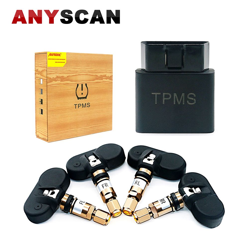 Wireless TN500 TPMS Tire Pressure Monitor System + 4 Internal Sensors Tire Alarm Pressure Support OBD Interface for iOS Android