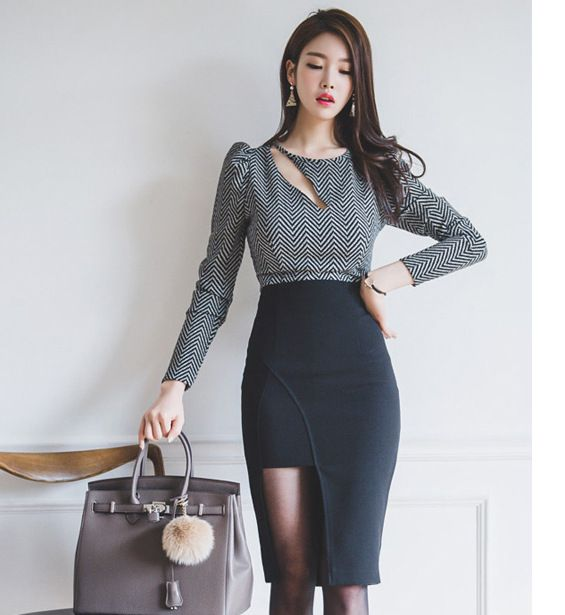 2016 Women suit Office Bandage Sexy Vintage Striped  long sleeve O-Neck Hollow Out tops and Asymmetrical skirts 2 piece set