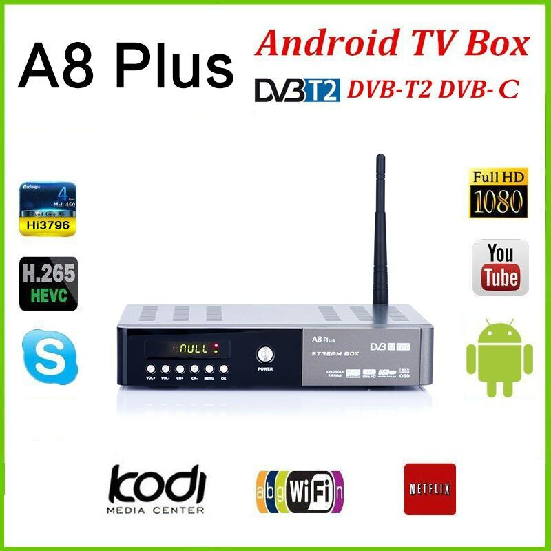 A8 plus DVB-S2 DVB-T2 S2 Android Smart TV Box HD Satellite TV Receiver PowerVu Biss key Cccam Wifi Media player iptv pvr