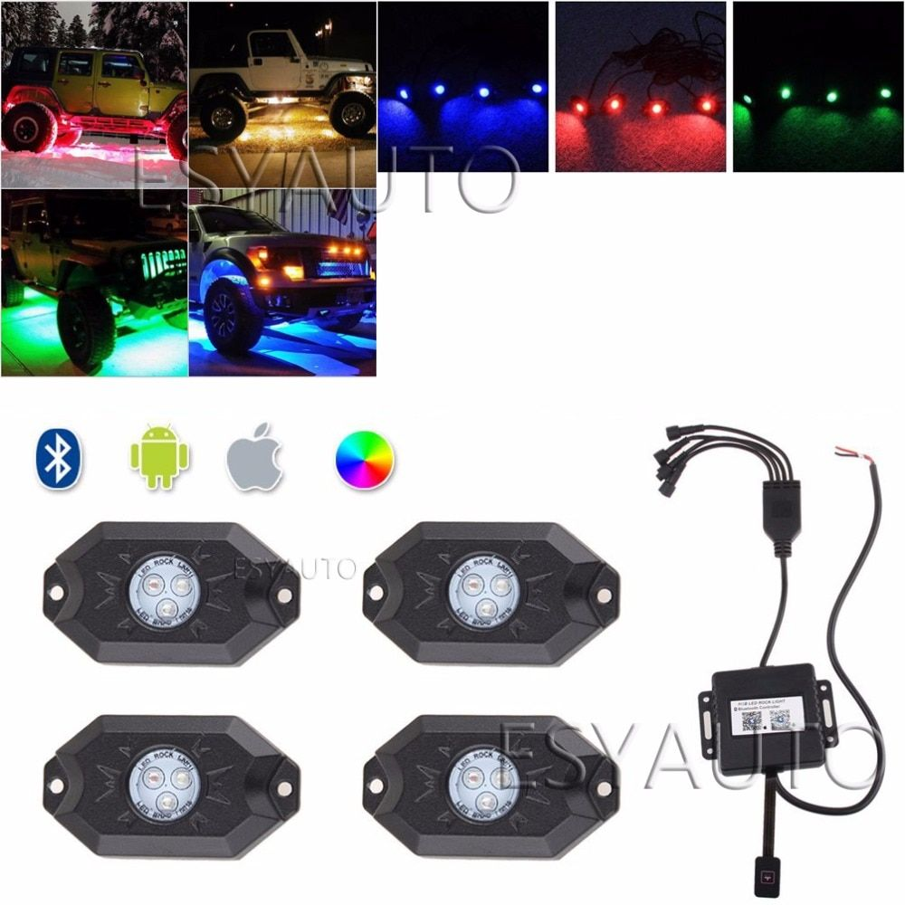 "4 Pods Multi-Color 9W 3"" RGB LED Rock Lights Flood Beam Bluetooth Control  Offroad Motorcycle For Jeep Wrangler"