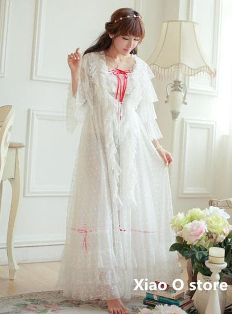Lace Long Dress Vintage Gowns Lace Collar Nightgown Princess Robe Set Party Dress Women High Quality,