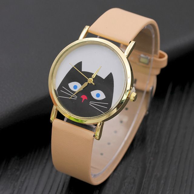 Cute Cat Quartz Watches Women Laether Fashion Casual Ladies Watch  European Style Women's Bracelet Watches Clock