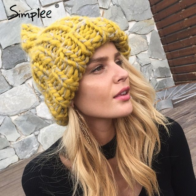 Simplee knitting wool hats 2017 pompon Bobble hats women skullies beanies Warm hat autumn cap winter hat female