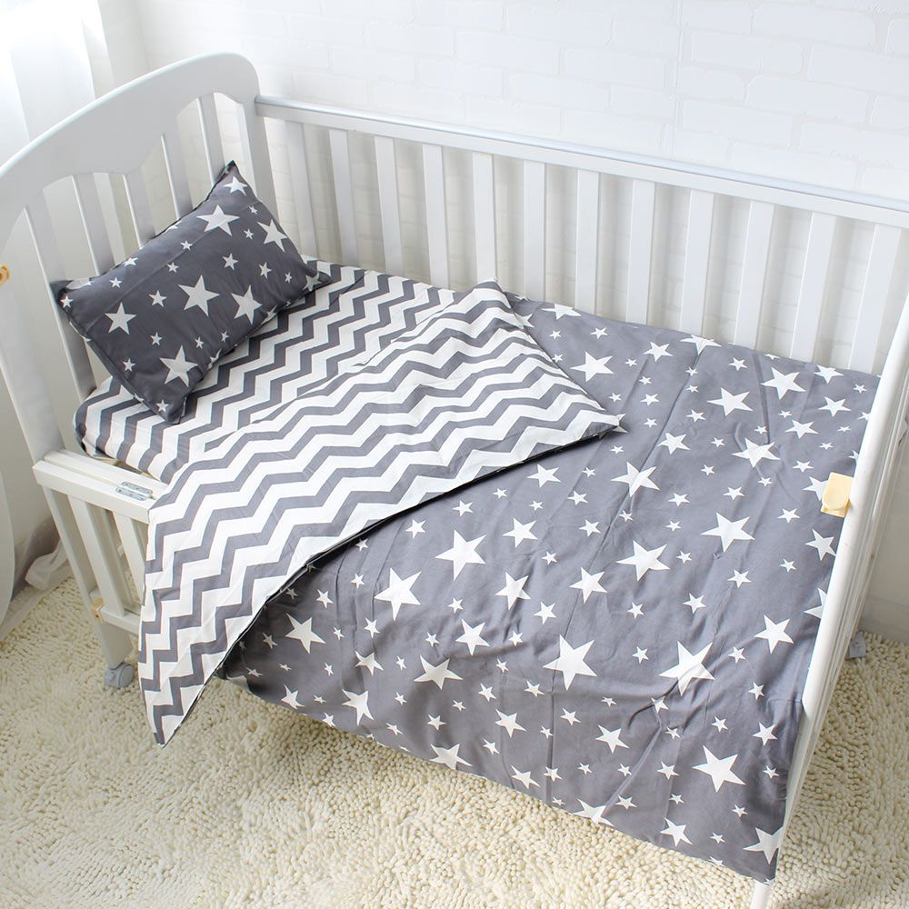 5Pcs Baby Bedding Set For Crib Newborn Baby Bed Linens For Girl Boy Detachable Cot Sheet Quilt Pillow Including The Filling