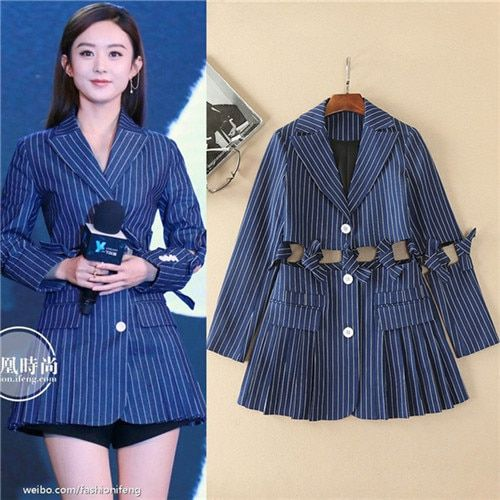 2017 spring OL notched collar coat tie cut waist midriff stripe denim blue casual coat long sleeve sexy jackets plus size xl