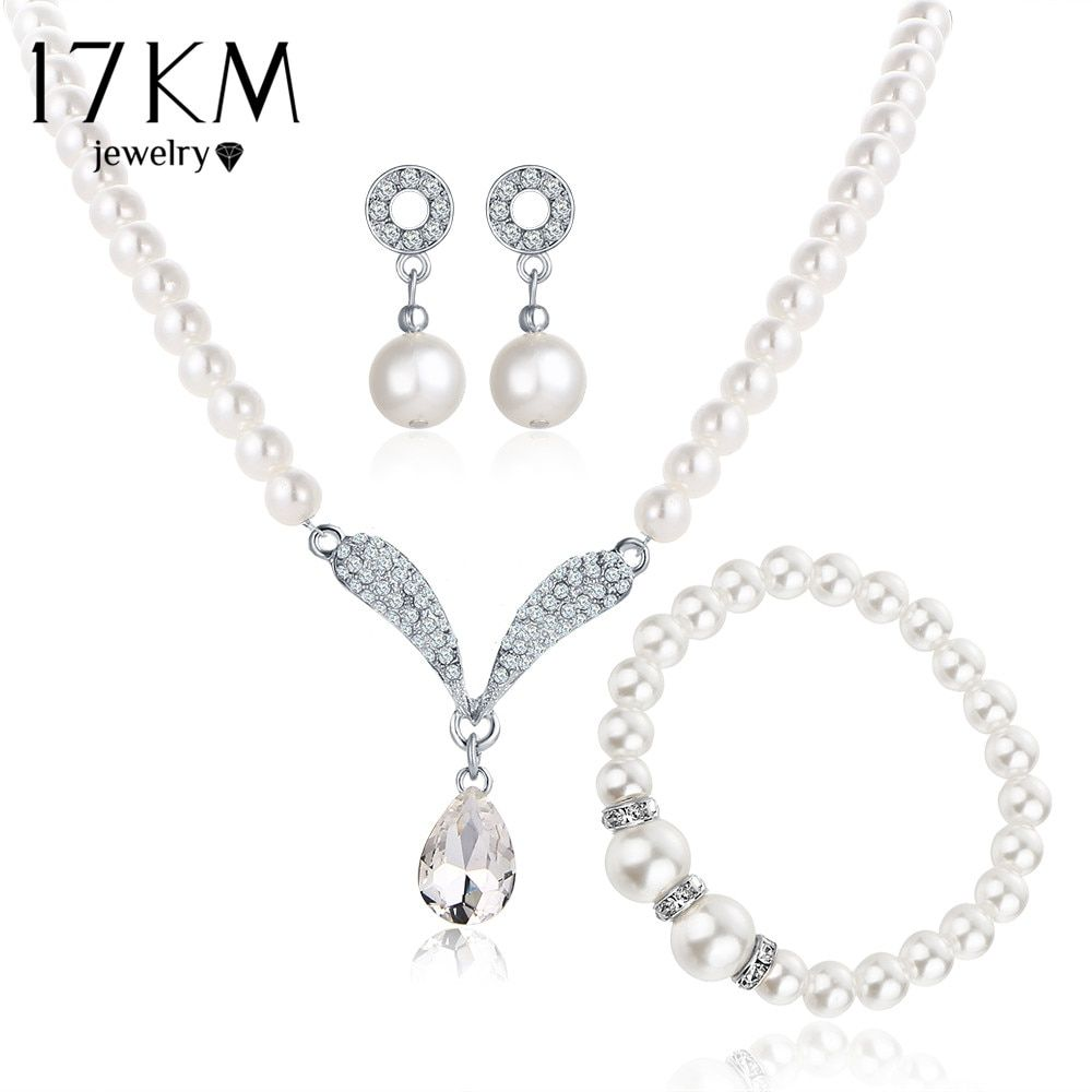 17KM Imitation Pearl Water Drop Jewelry Sets Necklaces Silver Color Crystal Earrings Bracelet for Women Statement Bijoux Femm