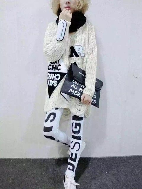 New Winter 2015european Style Loose Large Size Sweater Long Paragraph Letter Labeling The Hole Pattern Appliques Freeshipping