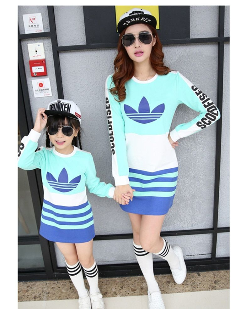 Mother And Daughter Matching Dresses Girls Striped Long Sleeved Elegant Dress For Spring And Autumn