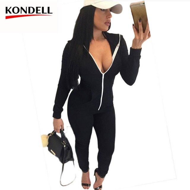Winter Women Casual Jumpsuits Rompers Long Sleeve Cotton Zipper Black Red Packet Hoodied Bodysuits Playsuits Plus Size