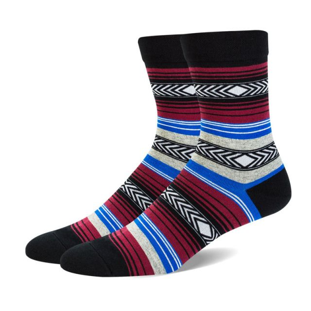 3 Pairs/lots Winter Style Colorful Socks Men Blue Series Stripes Deodorant Cotton Socks Mens Business Dress Socks 5 Colors
