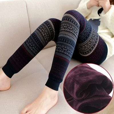 1Pairs/Lot  Winter retro jacquard totem plus velvet warmth pants Slim was thin cold outside wear Leggings