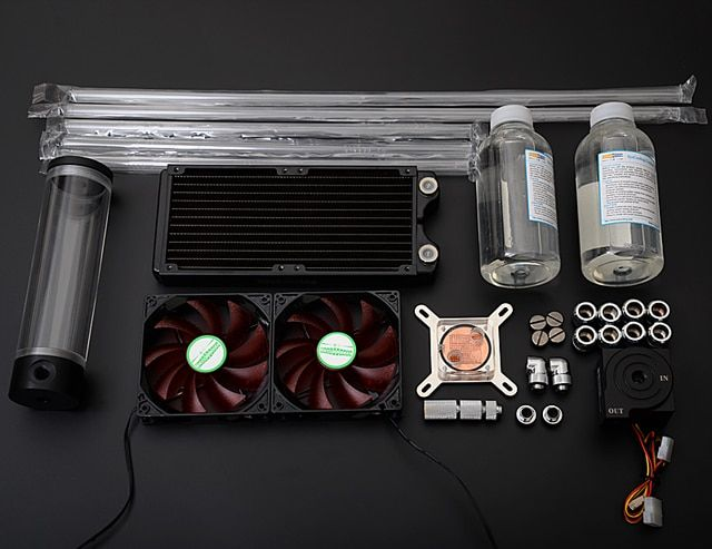 SysCooling high power water pump acrylic hard tube copper radiator water cooling kit for computer