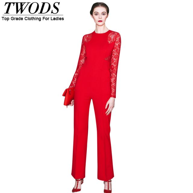 Twods Lace Paneled Long Sleeve Rompers Womens Jumpsuit With Long Bell Pants Red New Fashion Bodysuit Elegant Slim Fit Playsuits