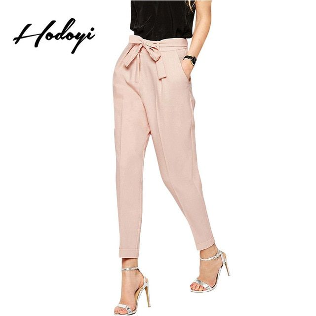 Hodoyi Women Fashion New Sweet Office Lady Carpis Pockets Bowknot Tie Elastic Waist  Solid Nude Wide Leg Harem Pencil Pants
