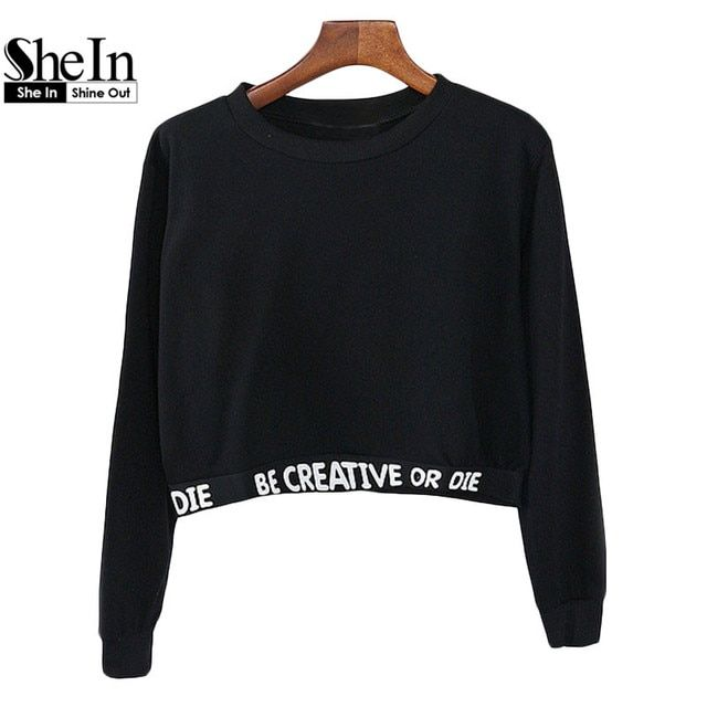 SheIn 2016 Women's Casual Pullovers Fashion Tops Round Neck Long Sleeve Black Letters Printed Cropped Sweatshirt
