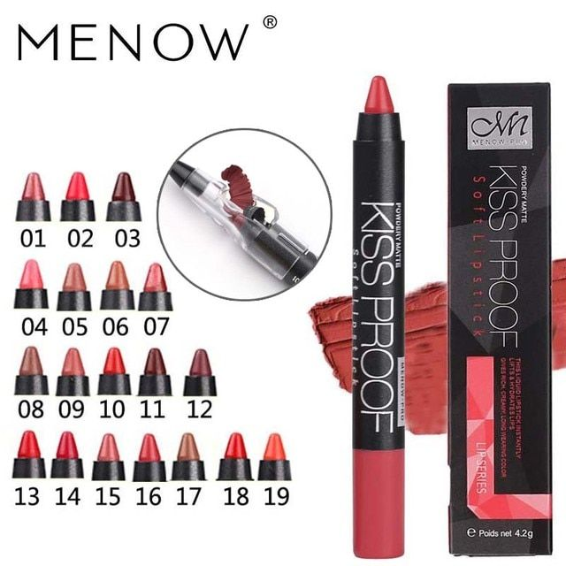 Menow 19 Color KISS PROOF Sexy Beauty Waterproof Lipstick Pen Lasting Do Not Fade Lipstick Gift 1Pcs Pencil Sharpener P13016