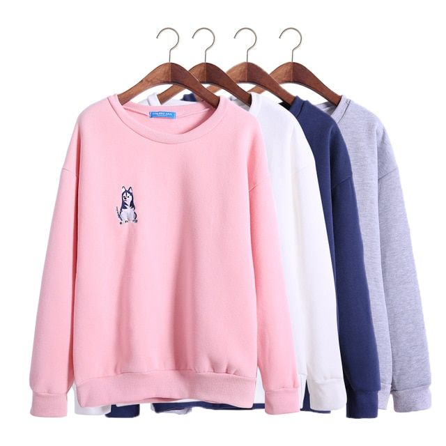 harajuku sweatshirt women 2017 korean style autumn husky puppy cute winter embroidery Shiba Inu puppies kawaii dog hoodies women