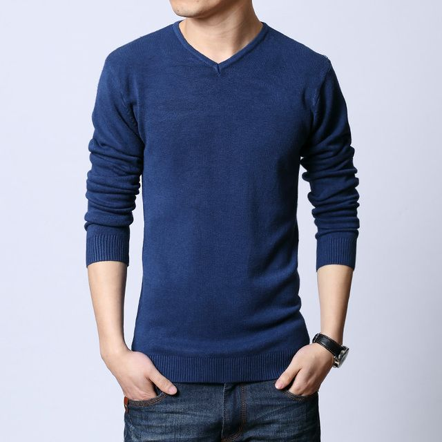Sweater men Pullovers thin solid slim tight sweaters soft and fashion