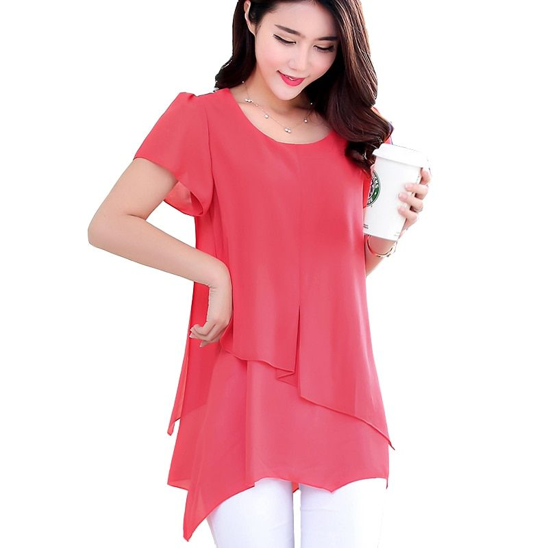 Women Tops Summer Style Short Sleeve Vintage Chiffon Blouse Feminina Plus Size 2018 Korean Fashion Clothing Ladies Work Shirt