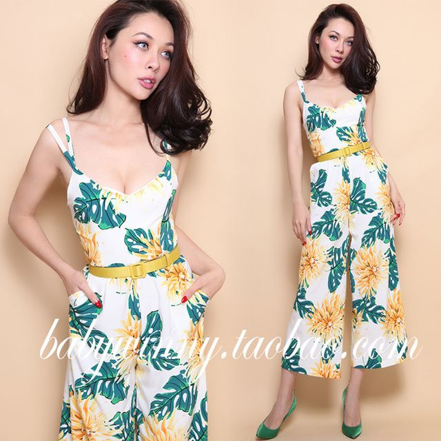 FREE SHIPPING 2016 Summer New Sexy Holiday Style Hawaii Floral Hit Color Slim Strap SLeeveless Wide Leg Jumpsuit Women Rompers
