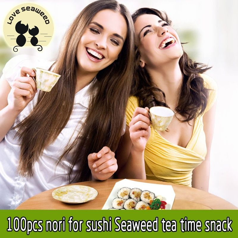Free shipping 100 pcs sushi nori seaweed cheap AAA quality Seaweed, tea time coffee served snacks top selling nori sushi