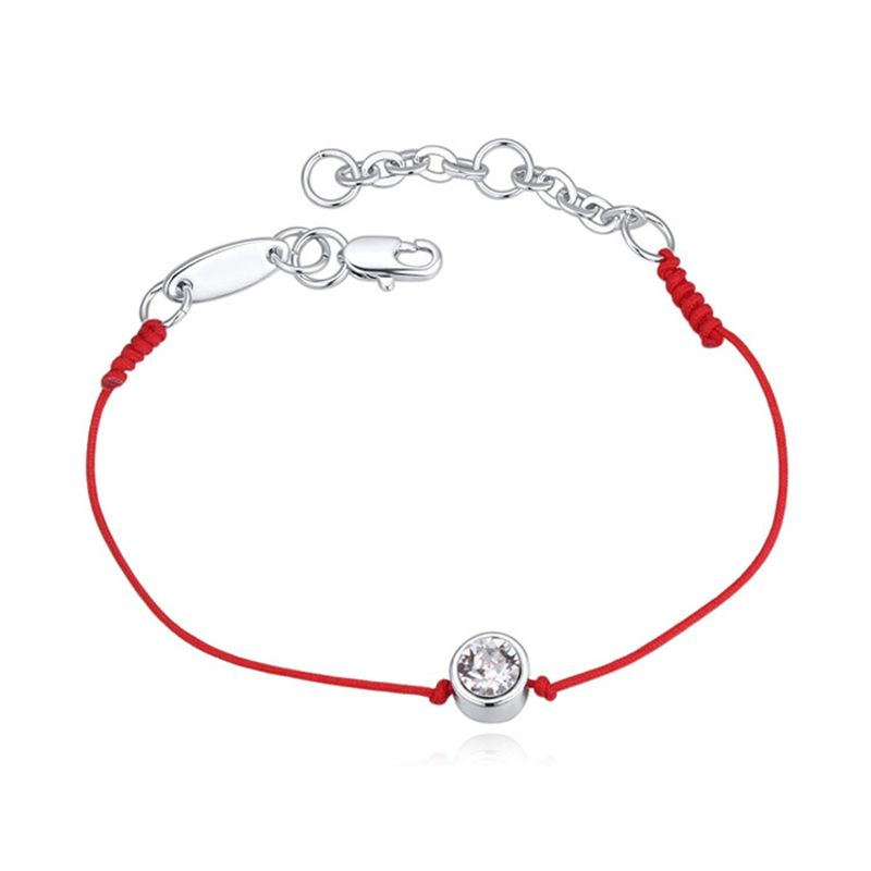 Real Austrian Crystal jewelry thin red thread string rope Charm Bracelets Fashion women silver gold color Red rope Couple wishes