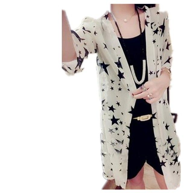New 2017 Women  Prevented Bask In Clothes Stars Paragraph Chiffon Grows In 7 Minutes Of  Sleeve Cardigan