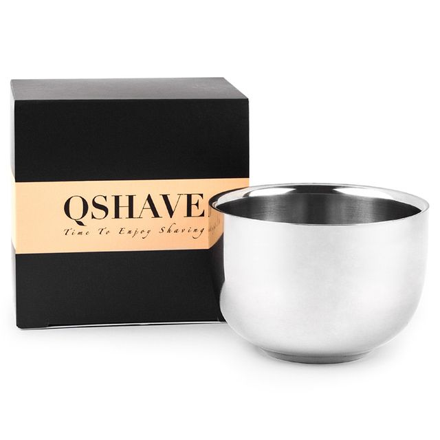 QSHAVE IT Shaving Soap Bowl Stainless Steel Double Edge Safety Razor Classic Brush Stand for Shaving Cream Bowl 7.2 x 5 x 3.7cm