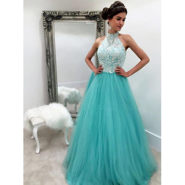 Vintage High Neckline Lace Covered Dresses for Graduation 2017 Blue Tulle Prom Dresses Long Party Gown