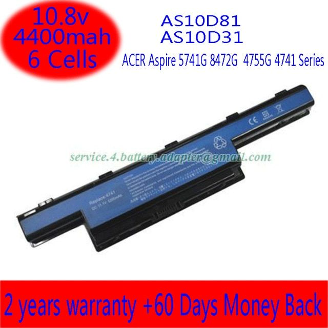 10.8V 5200mAh AS10D41 Laptop Battery For Acer Aspire 4738Z Aspire 4738ZG Series Aspire 4741 Aspire 4741G Series Free Shipping
