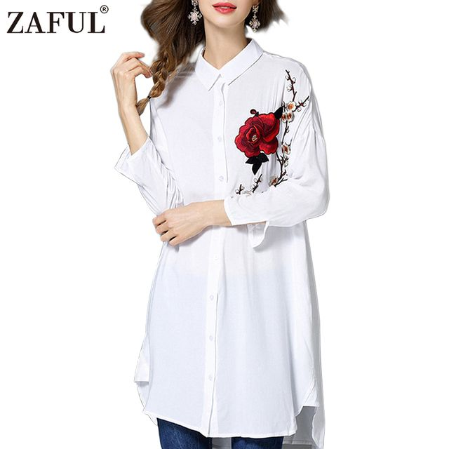 ZAFUL Women Floral Embroidery Blouses Long Sleeve Button Up Flower Embroidered Long Lady Shirt Slipt Camisa Feminina Tops
