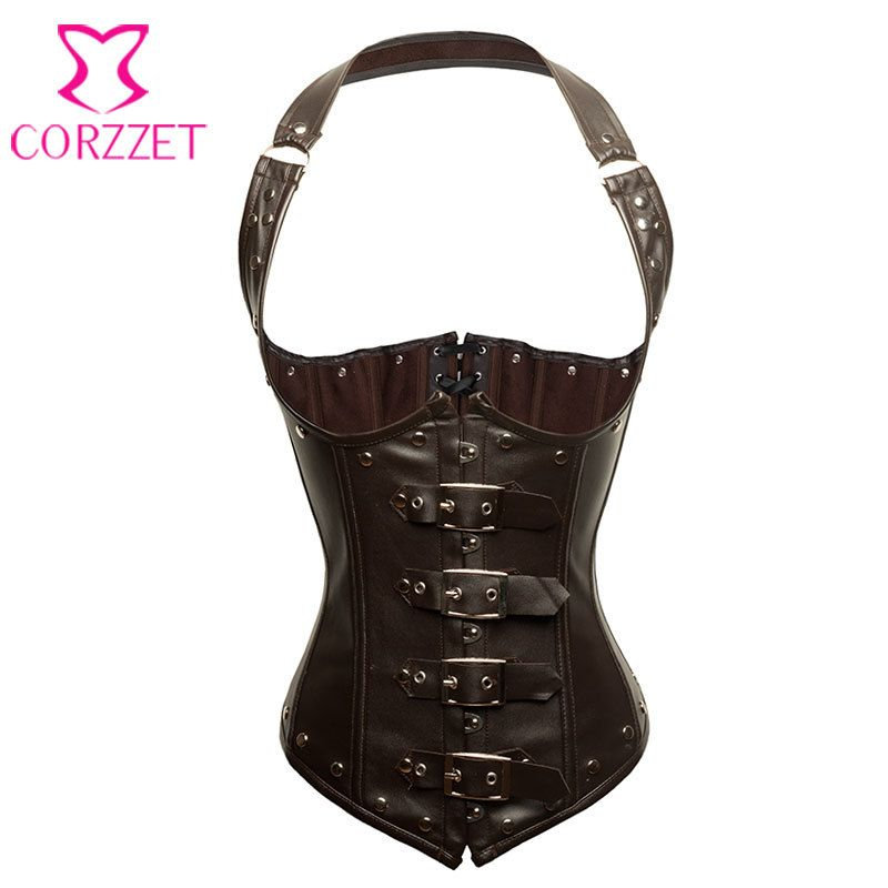 Brown Faux Leather Bustier Steampunk Corset Underbust Steel Boned Corsets and Bustiers Halter Tops Sexy Gothic Clothing Korset
