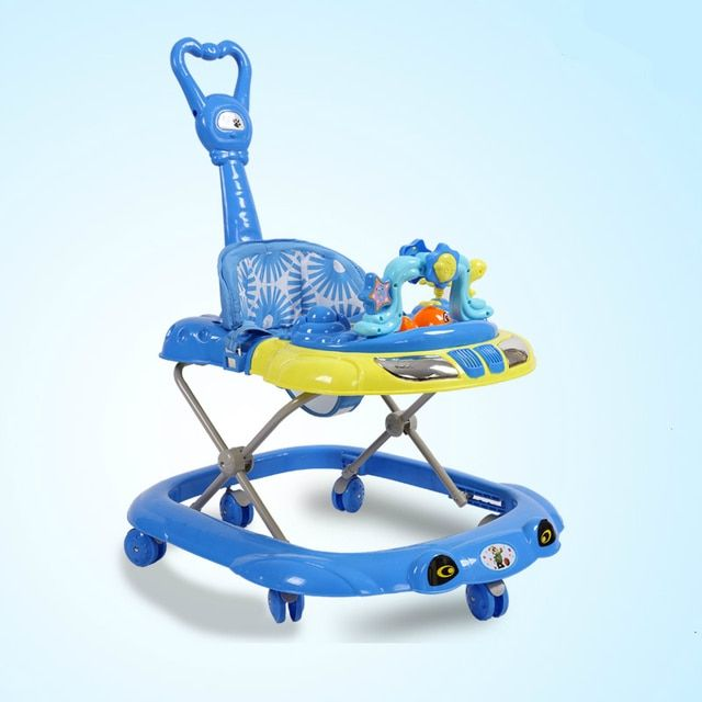 2016 New Baby Walker Car Anti-roll over Multifunctional Baby Stroller Music Toys Plate Baby Walk Learning Car Folding Walker C01