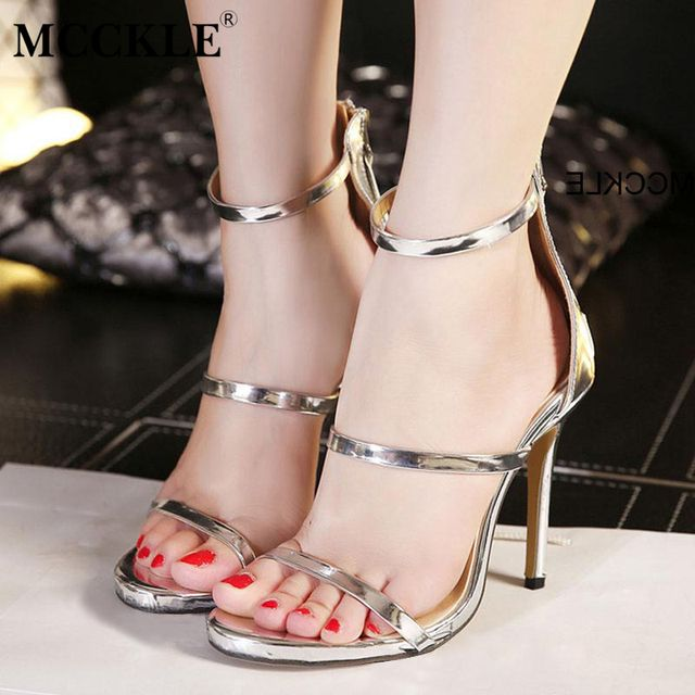 Summer Sandals Women 2016 New Brand Shoes Woman Thin High-Heeled Zipper Closure Fashion Casual Gold Silver Size 35-40 Z1266W