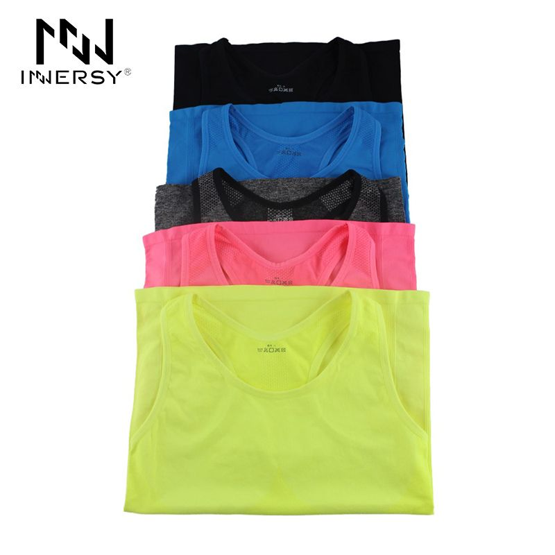 Innersy  Women Yoga Shirts Sport Running Vest Dry Quick Tank Tops for Gym Fitness Shirt Elastic Breathable Top M/L Jzh15