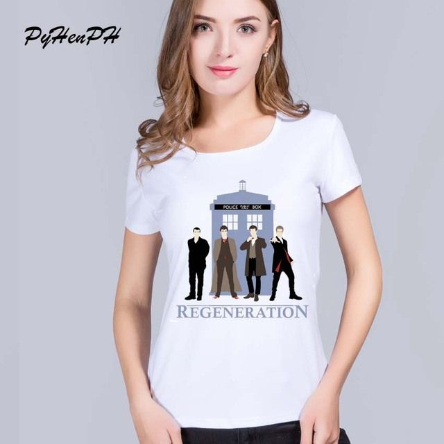 PyHenPH Summer Clothing  2016 women t shirt DR Who short Sleeve O-neck tshirt customized Doctor who  women tops funny basic tee