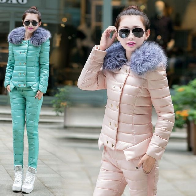 tracksuit for women 2016 winter women's fur down cotton-padded jacket coat + pants suit female luxury outfit 2 piece set